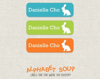 72 personalized dishwasher safe bunny rabbit labels | choose colors and fonts | microwave safe and waterproof