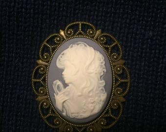 Victorian Lady Cameo Magnetic Shawl Pin, Brooch-Wedgewood Blue
