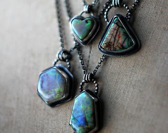 Monarch Opal Pendant, Cultured Opal, Sterling Silver, Artisan Metalwork,