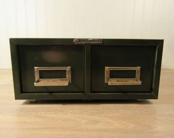 Two drawer vintage green metal file or card catalog box- Steelmaster- fine condition, functional