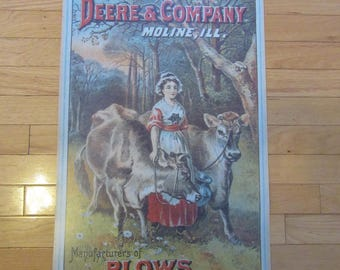 Deere & Company Moline, Ill. plow advertising print poster on card stock- nice condition- ready to hang or frame