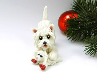 West Highland White Terrier Westie Christmas Ornament Figurine Lambie Toy Porcelain