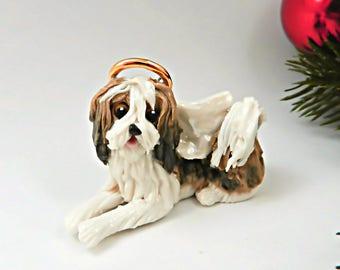 Havanese Angel Sable White Christmas Ornament Figurine Porcelain Clay