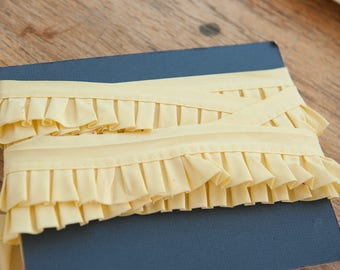 Yellow Pleated Bias -  Vintage Trim New Old Stock Edging Doll Making