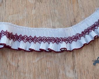 Smocked Ruffle - 3 yards Vintage Fabric Trim New Old Stock Doll Making Pleated Burgundy