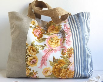 Large beach bag blue stripe floral linen