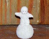 Vintage Small  Bisque Snow Babies on Snowball Figurine Snow Baby Japan