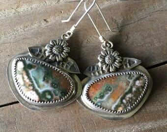 Ocean Jasper botanical earrings