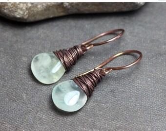 SALE Prehnite Earrings Antiqued Copper Wire Wrapped Green Gemstone Briolette Earrings