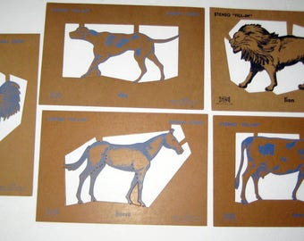 Vintage Play Set - Stenso Fill-In Animal  Stencils