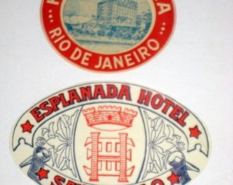 2 Vintage South American Hotel Luggage Labels - Rio de Janeiro and Sao Paolo
