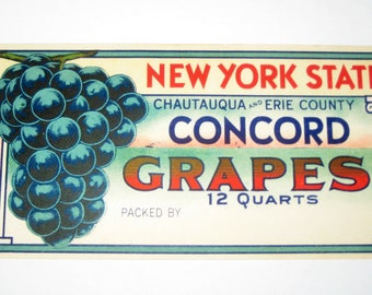 Vintage New York State Concord Grapes  Crate  or Basket Label