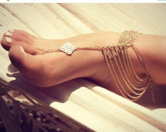 SUMMER SALE KATY Anklet- gold chain foot anklet available in gold / Bohemian foot chain/ barefoot sandal / boho / body jewelry / foot chain