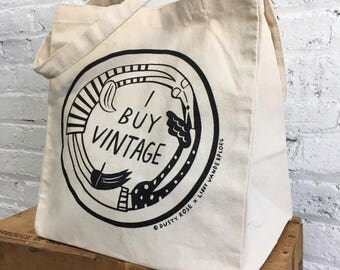 I BUY VINTAGE tote / natural cotton bag by Libby VanderPloeg and Dusty Rose
