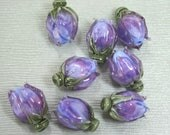 Variegated Purple Rosebud Handmade Lampwork Flower Beads SRA FHF