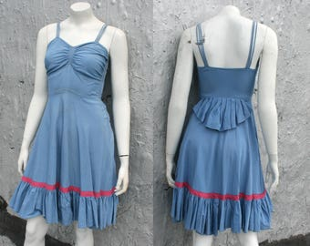 40s 50s Rockabilly Swing Dress / Blue Taffeta Fit & Flare Square Dance / Periwinkle Ballet Dancer Dress / Country Summer Dress / Size XS