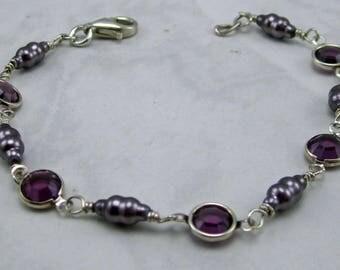 Swarovski Crystals, Pearls and Sterling Silver Bracelet