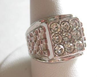 Ring Wide Band Square Clear Rhinestone Marked Signed 18KT HGE Size 8 Vintage Free Shipping