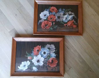 Pr POPPIES PAINTbyNUMBER, Mid Century Oil Floral Paintings,Collectables,Signed Paint by Number Paintings,Framed Paintings,1964 Poppies