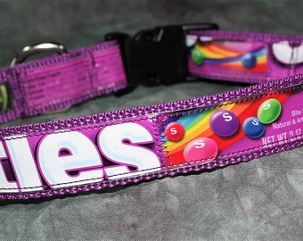 Adjustable Large Dog Collar from Recycled Wild Berry Skittles Wrappers