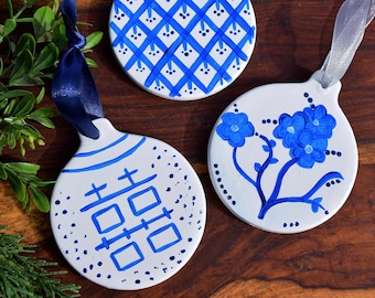 Handpainted Blue and White Chinoserie Ornament - Double Happiness Lattice Floral - Christmas Decoration