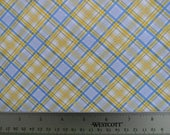 Walking on Sunshine Plaid Cotton Fabric In Blue and Yellow by Wilmington Prints