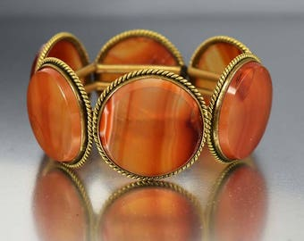 Antique Scottish Banded Agate Bracelet, Victorian Carnelian Agate Bracelet, Wide Fine Antique Jewelry