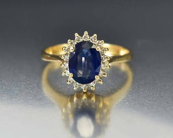 Gold Diamond Sapphire Halo Ring, 14K Gold Engagement Ring, Sapphire Ring, Bohemian Stacking Birthstone Ring, Diamond Promise Ring