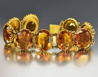 Edwardian Gold Citrine Topaz Crystal Bracelet, Antique Topaz Bracelet, Romantic Gift Golden Bracelet, Art Deco Bracelet