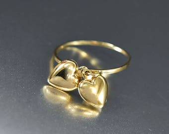 Sale Gold Heart Charms Dangle Ring | 14K Gold Charm Ring | Puffy Heart Charms | Stacking Ring | Dainty Gold Ring | Best Friend