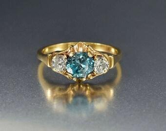 White Topaz and Blue Topaz Ring | 14K Gold Art Deco Ring |  Engagement Ring | White Topaz Ring | Vintage Engagement Ring | Trilogy Ring
