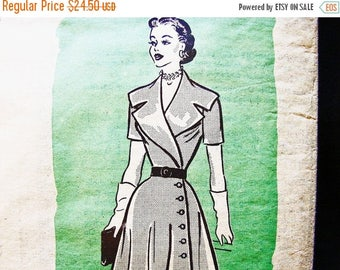 on SALE 25% Off 1950s Dress Pattern size 12 Womens Wide Collar Side Button Wrap Dress Flared Skirt Dress Vintage Sewing Pattern
