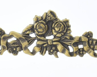 Bar Brass Stamping , rose bow stamping , bendable , antique gold sold by each 04211AG