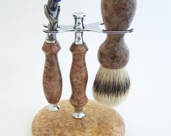 Maple Burl Wood 24mm Super Silvertip Shaving Brush and Fusion Flexball Razor Gift Set (Handmade in USA)  M5  Anniversary Gift - Men's Gift