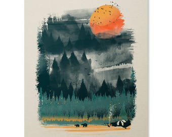 Wilderness Camping Art Print / Hiking Print / Outdoor Print / Wilderness Wall Art / Bear Print / Forest / Home Decor / 18 x 24