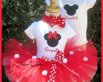 Custom. Twins , His and Hers,Mickey and Minnie, Party Outfits,Theme Party,Birthday Tutu Sets,Personalized in Sizes up to 2yrs