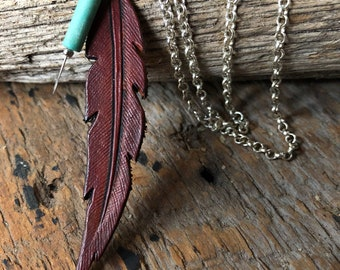 Hand Tooled Leather Feather Pendant with Turquoise