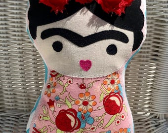 Little FRIDA KAHLO PILLOW Doll Romantic Floral Ready-to-Ship