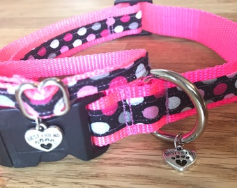 Best Friend Bracelet and Pet Collar Set in Pop Star Worthy Pink Polkadots with a touch of glitter on Hot Pink Webbing.