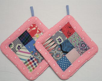 Pot Holders made with Vintage Quilt Top, Set of 2, Insulated Potholders, Pink & Blue Fabric Potholders, Trivets, Hot Pads, For the Kitchen