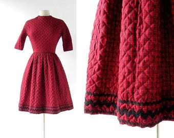 20% off sale Vintage Lanz Dress | Red Plaid Dress | 1960s Dress | XXS