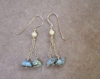 titanium pyrite earrings. gold filled chain.  organic colorful rough titanium pyrite beaded earrings. natural pyrite. rustic modern jewelry