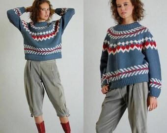 SALE 25% off sundays Oversized Sweater Vintage Chunky Knit Fair Isle ESPRIT SPORT Pull Over Winter Sweater (m l)