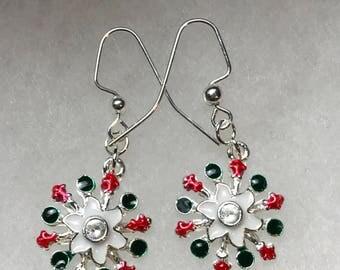 Silver Tone Christmas Flower Dangle Pierced Earrings