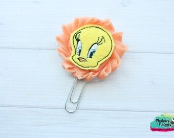 Planner Clip { Tweety } yellow bird, cartoon, peach shabby birthday animal Paper Clips, Stationary, Planner Supplies, kikkik, happy planner
