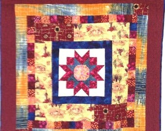 Festival Sale Vineyard Star at Sunset 42x42 inch art quilt by O.V. Brantley