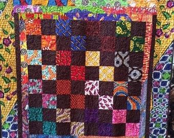 Festival Sale African Merlot 54x62 inch art quilt