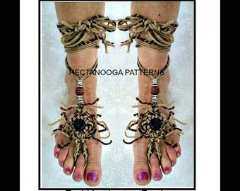 barefoot sandals, CROCHET PATTERN, one size fits all, Beginner level, Fringy Barefoot sandals, #2006