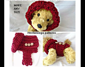 crochet pattern, DOG coat -Jacket, Make ANY SIZE, quick and easy chunky style crochet, #2062