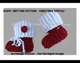 KNITTING PATTERN, Christmas Baby Booties, Knitting for Baby, Newborn to 1 yr, free shipping on digital downloads, #2091